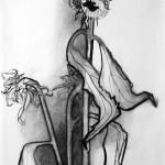 Liliane Camier - Série Tournesols n°4 - 2016 - fusain - 65 cm x 50 cm