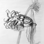 Liliane Camier - Série Tournesols n°5 - 2016 - fusain - 65 cm x 50 cm