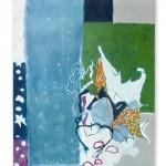 Liliane Camier - Kakemono - Le songe en jeu - 199cm x 97cm – acrylique sur toile libre tasseaux en haut et en bas