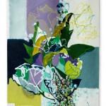Liliane Camier - Kakemono - Paysage hanté par le devenir des feuilles sèches - 199cm x 97cm – acrylique sur toile libre tasseaux en haut et en bas