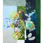 Liliane Camier - Kakemono - Le rêve de l'hippocampe - 199cm x 97cm – acrylique sur toile libre tasseaux en haut et en bas