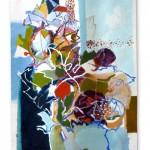 Liliane Camier - Kakemono - Fantôme agacé de pourpre - 199cm x 97cm – acrylique sur toile libre tasseaux en haut et en bas