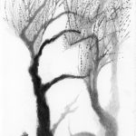 Liliane Camier - Parc Montsouris Dessin mine graphite sur papier Arches 300gr - 28 cm x 17 cm