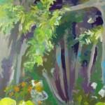 Liliane Camier - Arbres en lisière - 2013 – 195 cm x 97 cm – acrylique et huile sur toile