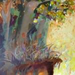 Liliane Camier - Le talus, soleil couchant - 2013 – 195 cm x 114 cm – acrylique et huile sur toile