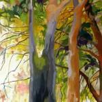 Liliane Camier - Deux arbres - 2013 – 195 cm x 97 cm – acrylique et huile sur toile