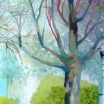 Liliane Camier - Diptyque - Paysage avec bouleaux N°2 - 2014 - 195 cm x 130 cm – acrylique et huile sur toile