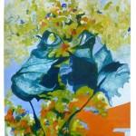 Liliane Camier - La geste de deux feuilles, Bleu – 2013 – acrylique sur toile libre lin ou coton – 199 cm x 97 cm