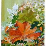 Liliane Camier - Il y a une feuille orangée sur l'épaule du conteur – 2013 – acrylique sur toile libre lin ou coton – 199 cm x 97 cm