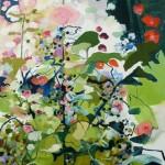 Liliane Camier - série Sol et Corolles – Roses trémières – 2011 – acrylique et huile sur toile – 195 cm x 97 cm