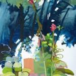 Liliane Camier - série Sol et Corolles – Composition à la colonne – 2012 – acrylique et huile sur toile – 195 cm x 97 cm