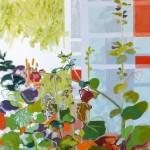 Liliane Camier - série Sol et Corolles – La serre – 2012 – acrylique et huile sur toile – 195 cm x 97 cm
