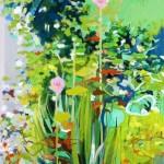 Liliane Camier - série Sol et Corolles – Songe matinal – 2012 – acrylique et huile sur toile – 195 cm x 97 cm