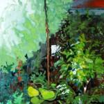 Liliane Camier - série Sol et Corolles – L'été en exil – 2012 – acrylique et huile sur toile – 195 cm x 97 cm