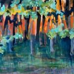 Liliane Camier - Au couchant, le petit bois de chênes – 2010 – 100 cm x 120 cm - acrylique et huile sur toile