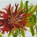 Liliane Camier - Pivoine fanée – 2009 – huile sur toile – 12 cm x 22 cm